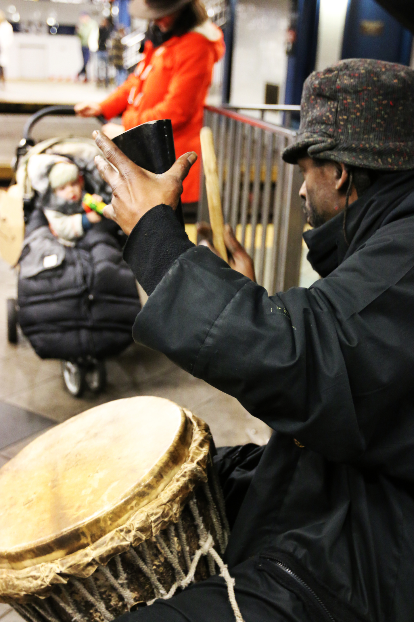 Instrumentalist Plays in NYC Subway Platform